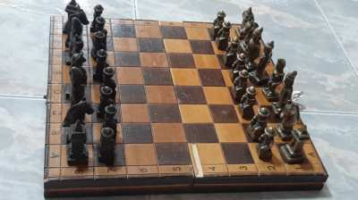 Wooden Chess board and checkers made of bronze made in Burma