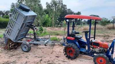 farm tractor + trailer