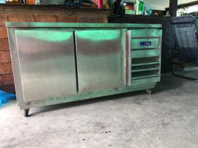 Stainless steal double door fridge with work surface