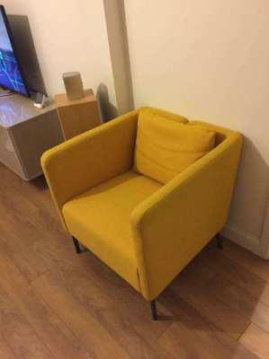 Ekero Ikea Chair - yellow w grey cushion