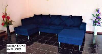 Italian Design Large Blue Sofa Set