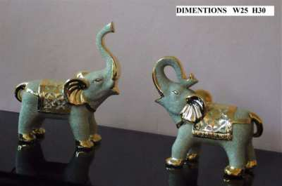 Pair of Gold Ceramic Elephants