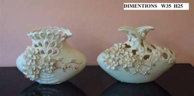White and Gold Ceramic Vases - Pair
