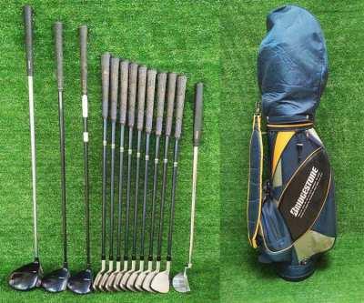 Bridgestone full set of golf clubs in bag