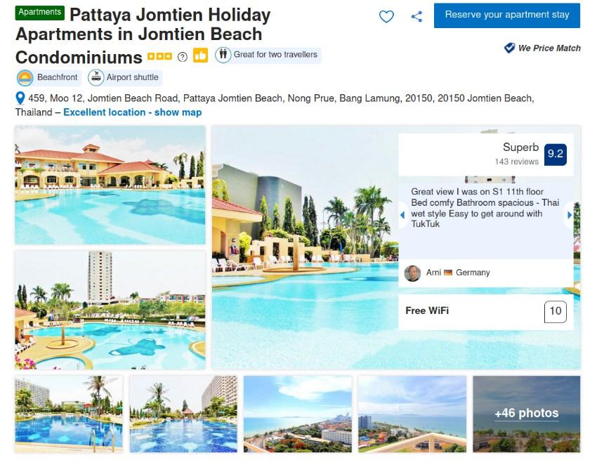 Holiday Apartment Rental Business for Sale, Pattaya Jomtien Beach