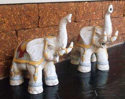 Pair of Hand Painted Ceremonial Thai Elephants - 47cm Long x 55cm High