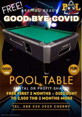Free! Pool Table 2 months + Discount to 2,500 THB more 2 months!