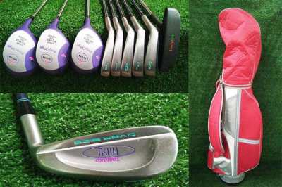 Lady set of golf clubs in bag