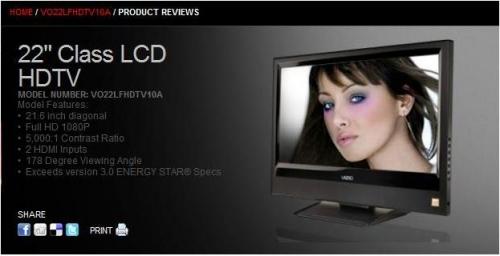 Vizio 22 Inch HDTV - Full HD -1080P And HiDef PC Monitor